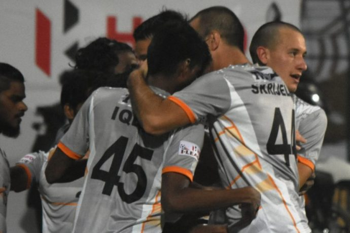 Chennai City FC players celebrating a goal in the Hero I-League. (Photo courtesy: AIFF Media)