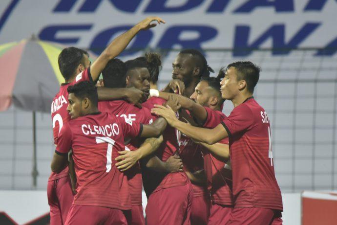 Churchill Brothers players celebrate a goal in the Hero I-League. (Photo courtesy: AIFF Media)