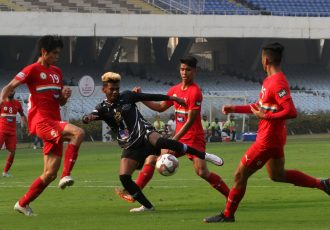 Hero I-League match action between Mohammedan Sporting Club and Sudeva Delhi FC. (Photo courtesy: AIFF Media)