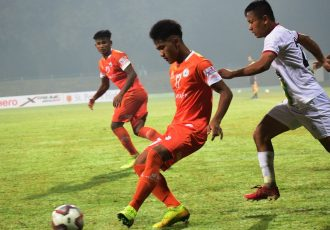 Hero I-League match action between NEROCA FC and TRAU FC. (Photo courtesy: AIFF Media)