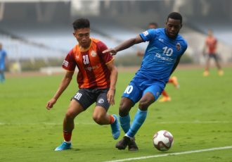 Hero I-League match action between RoundGlass Punjab FC and Churchill Brothers FC. (Photo courtesy: AIFF Media)
