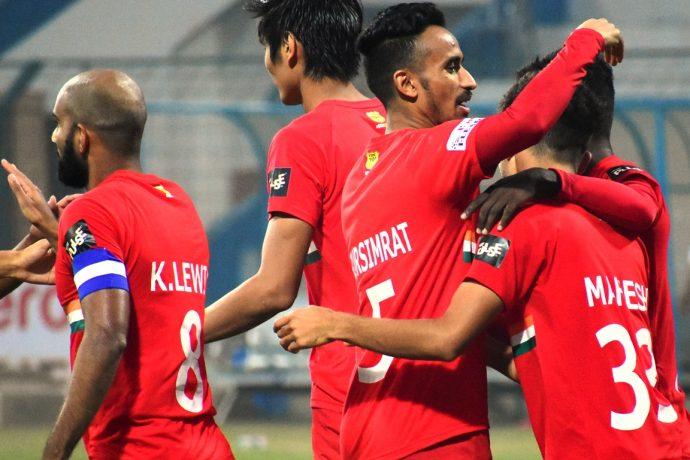 Sudeva Delhi FC players celebrate a goal in the Hero I-League. (Photo courtesy: AIFF Media)