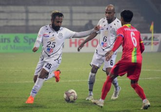 Hero I-League match action between TRAU FC and Mohammedan Sporting Club. (Photo courtesy: AIFF Media)