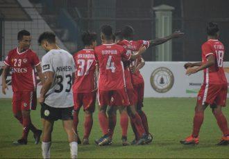 Aizawl FC players celebrate a goal against Sudeva Delhi FC in the Hero I-League. (Photo courtesy: AIFF Media)