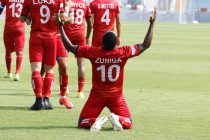 Churchill Brothers FC's Clayvin Zuniga celebrates his goal in the Hero I-League. (Photo courtesy: AIFF Media)