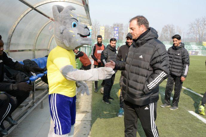 Real Kashmir FC's Scottish head coach David Robertson with the club mascot. (Photo courtesy: AIFF Media)
