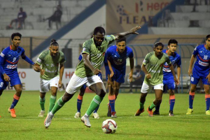 Gokulam Kerala FC's Dennis Antwi Agyare takes a penalty shot in the Hero I-League. (Photo courtesy: AIFF Media)