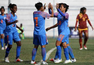 Indian Women's national team players celebrate a goal. (Photo courtesy: AIFF Media)