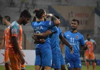 Luka Majcen and his Churchill Brothers teammates celebrate a goal in the Hero I-League. (Photo courtesy: AIFF Media)