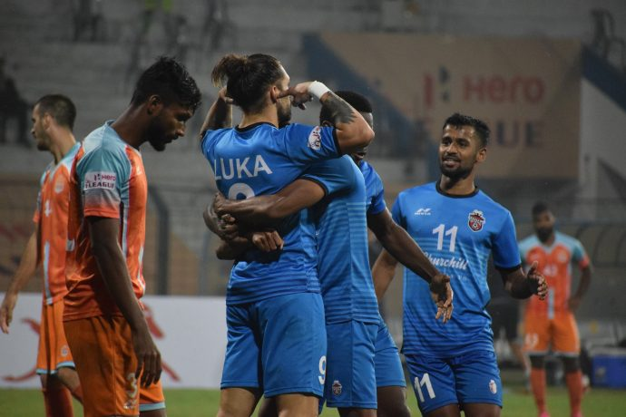 Luka Majcen and his Churchill Brothers teammates celebrate a goal in the Hero I-League. (Photo courtesy: AIFF Media)