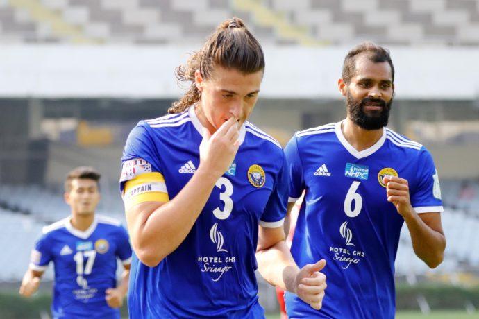 Mason Robertson and his Real Kashmir FC teammates celebrate a goal in the Hero I-League. (Photo courtesy: AIFF Media)