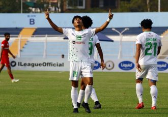 NEROCA FC's Songpu Singsit celebrates a goal in the Hero I-League. (Photo courtesy: AIFF Media)