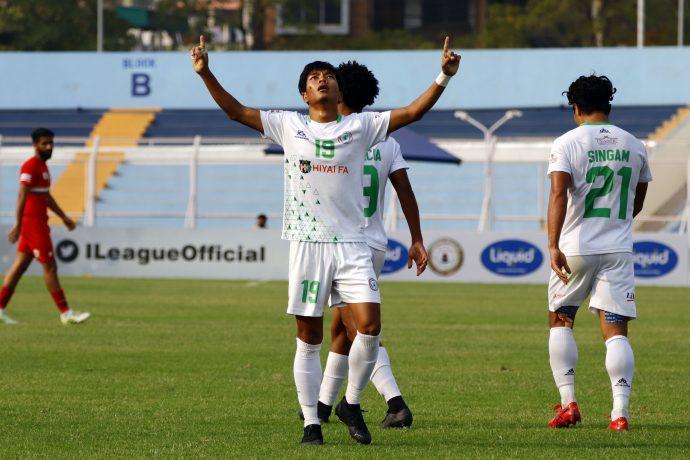 NEROCA FC's Songpu Singsit celebrates a goal in the Hero I-League. (Photo courtesy: AIFF Media)
