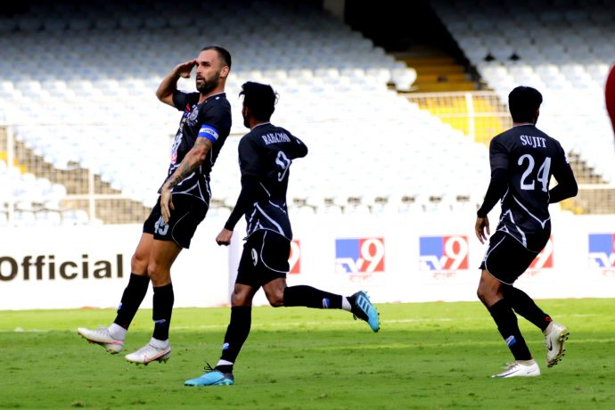 Mohammedan Sporting Club's Pedro Manzi celebrates a goal in the Hero I-League. (Photo courtesy: AIFF Media)