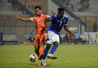 Hero I-League match action between Real Kaschmir FC and NEROCA FC. (Photo courtesy: AIFF Media)
