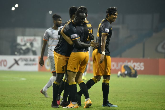 RoundGlass Punjab FC players celebrate a goal in the Hero I-League. (Photo courtesy: AIFF Media)
