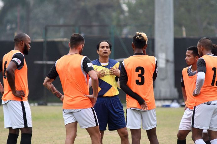Mohammedan Sporting Club head coach Sankarlal Chakraborty during a training session. (Photo courtesy: Mohammedan Sporting Club)