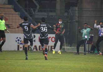 Mohammedan Sporting Club's Suraj Rawat celebrates his goal in the Hero I-League. (Photo courtesy: AIFF Media)