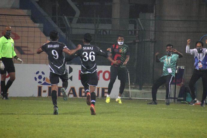 Mohammedan Sporting Club's Suraj Rawat celebrates his goal in the Hero I-League. (Photo courtesy: AIFF Media)
