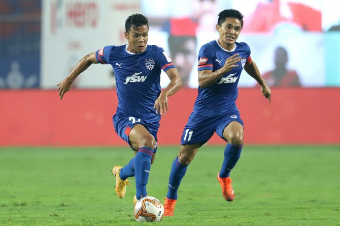 Bengaluru FC midfielder Suresh Singh Wangjam and skipper Sunil Chhetri. (Photo courtesy: AIFF Media)