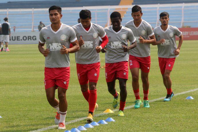 TRAU FC players during their pre-match warm-up. (Photo courtesy: AIFF Media)