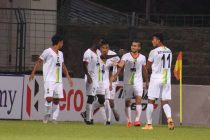 TRAU FC players celebrate a goal in the Hero I-League. (Photo courtesy: AIFF Media)