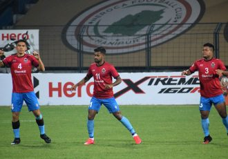 Churchill Brothers FC players during pre-match warm-up. (Photo courtesy: AIFF Media)