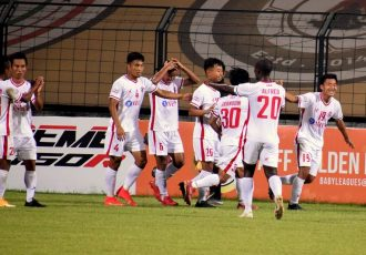 Aizawl FC players celebrate a goal in the Hero I-League. (Photo courtesy: AIFF Media)