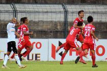 Aizawl FC players celebrate a goal in the Hero I-League. (Photo courtesy: AIFF Media)