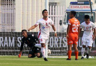 Aizawl FC's Lalliansanga Renthlei celebrates a goal in the Hero I-League. (Photo courtesy: AIFF Media)