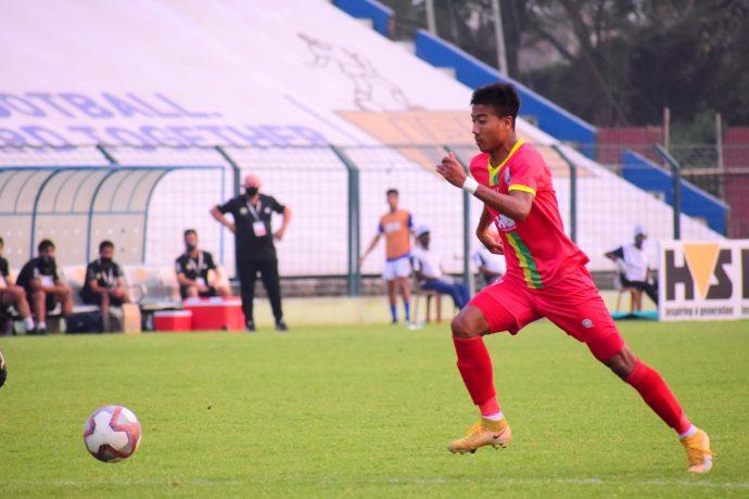 TRAU FC's Bidyashagar Singh during a Hero I-League match. (Photo courtesy: AIFF Media)
