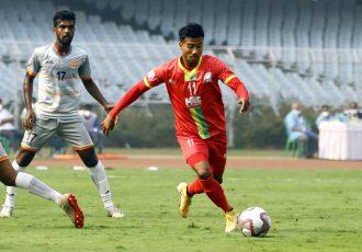 TRAU FC star Bidyashagar Singh in action in the Hero I-League 2020/21. (Photo courtesy: AIFF Media)