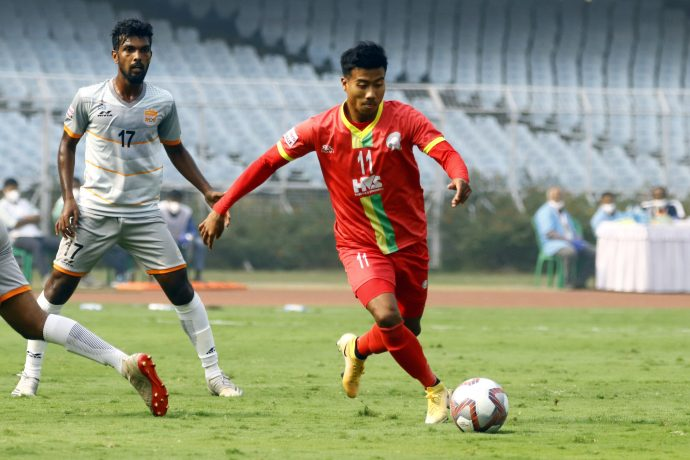 TRAU FC star Bidyashagar Singh in action in the Hero I-League 2020/21. (Photo courtesy: AIFF Media)