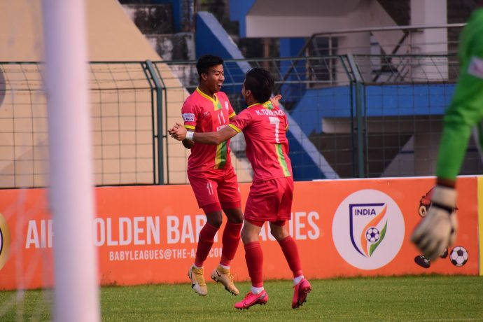 TRAU FC's Bidyashagar Singh and Komron Tursunov celebrate a goal in the Hero I-League. (Photo courtesy: AIFF Media)