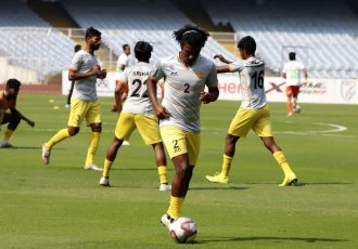Chennai City FC players during their pre-match warm-up. (Photo courtesy: AIFF Media)