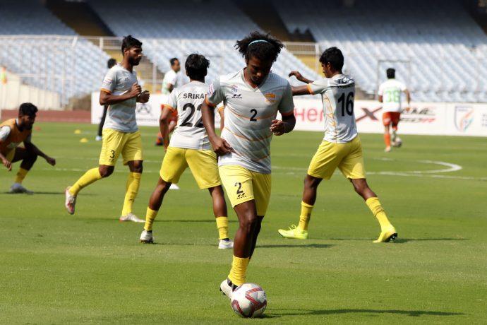 Chennai City FC players during their pre-match warm-up. (Photo courtesy: AIFF Media)