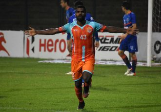 Chennai City FC's Rajesh S. celebrates a goal in the Hero I-League. (Photo courtesy: AIFF Media)