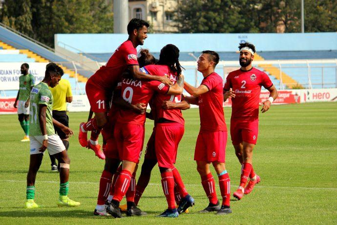 Churchill Brothers FC players celebrate a goal in the Hero I-League. (Photo courtesy: AIFF Media)