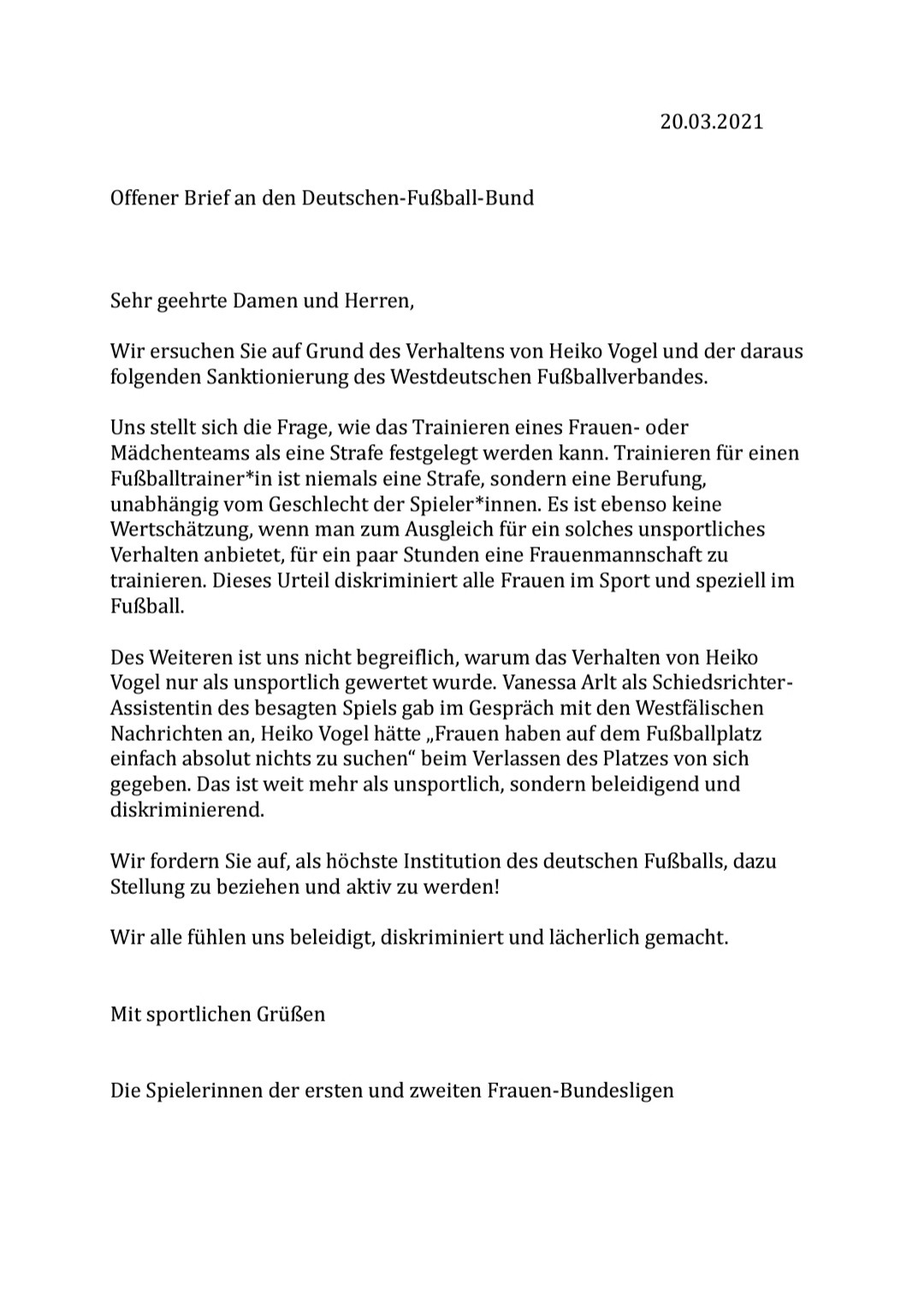 Letter to the DFB signed by all players of the 1st and 2nd Division Women's Bundesliga.