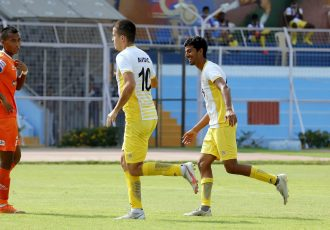 Chennai City FC's Demir Avdic celebrates a goal in the Hero I-League. (Photo courtesy: AIFF Media)