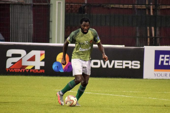 Gokulam Kerala FC's Dennis Antwi Agyare in action in the Hero I-League. (Photo courtesy: AIFF Media)