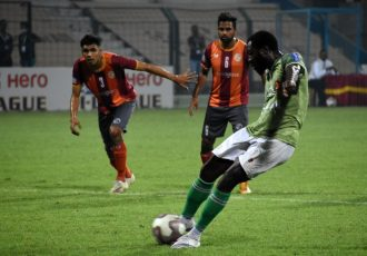 Gokulam Kerala FC's Dennis Antwi takes a penalty in a Hero I-League match. (Photo courtesy: AIFF Media)