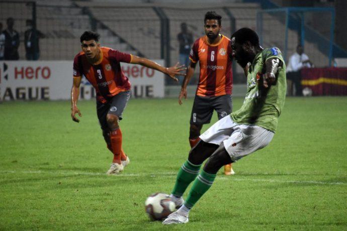 Gokulam Kerala FC's Dennis Antwi takes a penalty in a Hero I-League match. (Photo courtesy: AIFF Media)