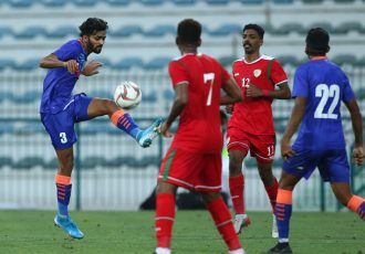 Indian national team left-back Akash Mishra in action against Oman in an international friendly match. (Photo courtesy: AIFF Media)