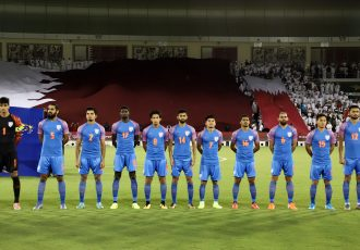 The Indian national team players during the national anthem. (Photo courtesy: AIFF Media)