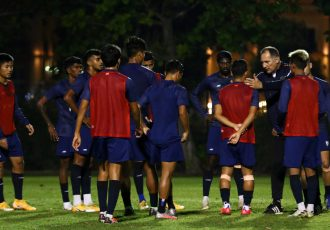 Indian national team head coach Igor Štimac with his squad during training. (Photo courtesy: AIFF Media)