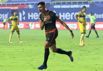 FC Goa's Ishan Pandita celebrates a goal in the Hero Indian Super League. (Photo courtesy: AIFF Media)
