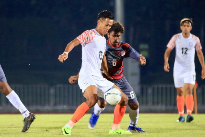 Jeakson Singh Thounaojam in action for the Indian national team at youth level. (Photo courtesy: AIFF Media)