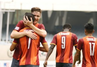 RoundGlass FC's Joseba Beitia and Chencho Gyeltshen celebrate a goal in the Hero I-League. (Photo courtesy: AIFF Media)