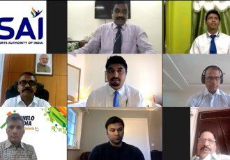 Khelo India ePathshala video conference. (Photo courtesy: AIFF Media)